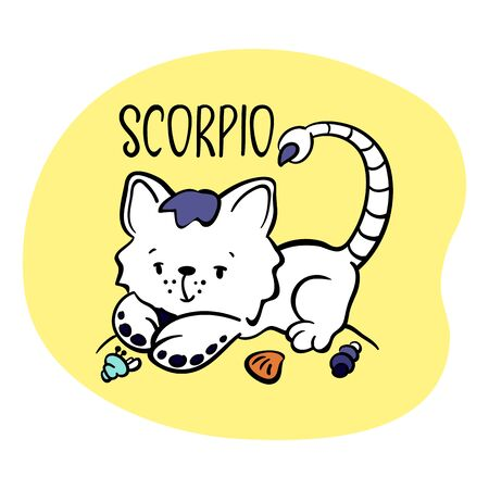Scorpio Astrological Zodiac sign with cute cat character. Cat zodiac icon. Kitten Scorpio sticker. Baby shower or birthday greeting card. Astrological horoscope element. Scorpio icon or isolated