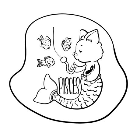 Pisces astrological zodiac sign with cute cat character. Pisces vector illustration on white background. Astrological sign black line drawing. Cute Pisces cat coloring page. Zodiac character symbol Illustration