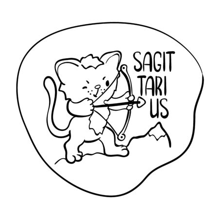 Sagittarius astrological zodiac sign with cute cat character. Sagittarius vector illustration on white. Astrological sign black line drawing. Cute Sagittarius cat coloring page. Zodiac character