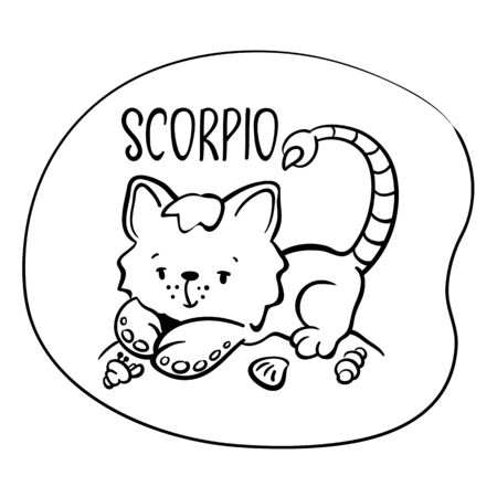 Scorpio astrological zodiac sign with cute cat character. Scorpio vector illustration on white background. Astrological sign black line drawing. Cute Scorpio cat coloring page. Zodiac character symbol