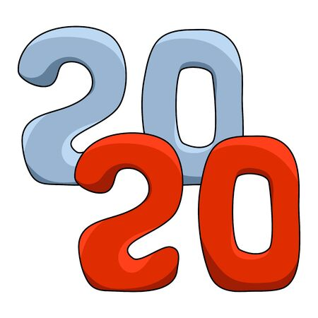 2020 cartoon vector illustration on white background. New Year number square label. 2020 Year hand-drawn figures for children calendar or paper package. Red and blue 2020 New Year sticker or tag. Ilustracja