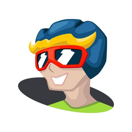 Active man head in helmet. Cartoon vector mascot on white background. Racer head icon. Sportsman smiling face. Cool guy in helm and sunglasses. Winter sport fun concept. Safe paintball equipment Ilustracja