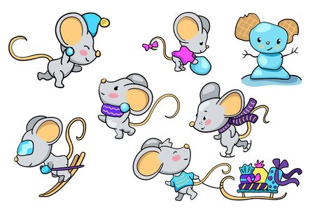 Cute mice making winter outdoor activity. Funny mouse set of vector illustrations on white background. 2020 New Year symbol. Chinese or lunar new year. Mouse playing winter sport. Cartoon mouse icon