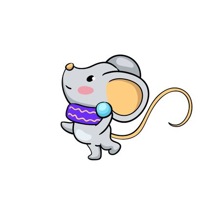 Cute mouse character play snowball. Snow fight. Funny rat vector illustration on white background. 2020 New Year or Lunar zodiac year symbol Rat. Mouse isolated. Winter season activity. Outdoor sport