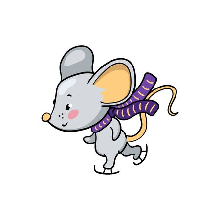 Cute mouse character skating. Friendly rat vector illustration on white background. 2020 New Year sticker. Oriental zodiac year symbol Rat. Mouse skate isolated. Winter season activity. Outdoor sport