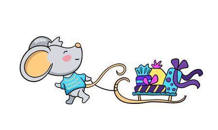 Cute character mouse with presents in sleight. Funny rat vector illustration on white background. Christmas gift delivery. 2020 New Year icon. Lunar zodiac year symbol Rat. Mouse with sleight isolated