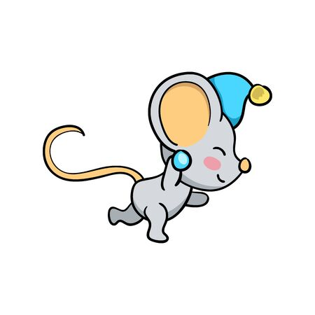 Cute mouse character play snowball. Funny rat vector illustration on white background. 2020 New Year icon. Lunar zodiac year symbol Rat. Mouse playing isolated. Winter season activity. Outdoor sport Ilustracja