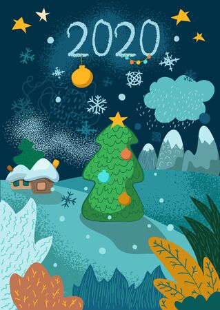 New Year vertical postcard with fir tree, village and mountains. 2020 greeting card. Winter landscape and decorated firtree. New Year or Christmas congratulations. Winter holiday vertical banner Ilustracja