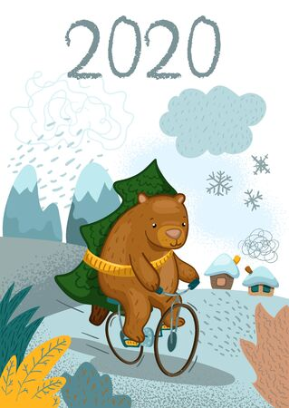 Cute bear character on bicycle with fir tree vector illustration. Christmas greeting card with cute bear and firtree. New Year congratulations. Winter landscape with mountain and house. 2020 lettering Ilustracja