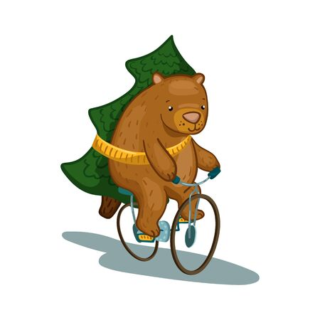 Cute bear character on bicycle with fir tree vector illustration. Fir tree delivery service. Bear cartoon character. New Year or Christmas design. Woodland animal clipart. Lovely bear with firtree