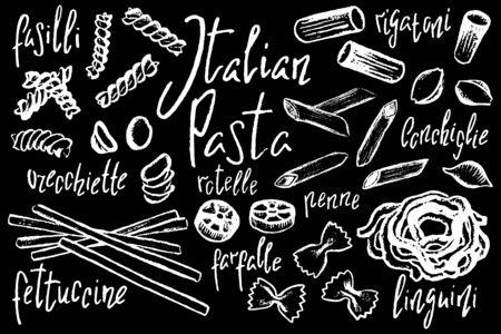 Italian pasta shapes, white chalk vector illustration on black background. Pasta italiana sketch on blackboard. Fettuccine, linguini, farfalle, penne pasta type. Lunch meal cook book. Food ingredient Ilustracja