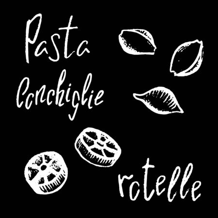 Italian pasta Ruote white chalk vector illustration on black background. Simple food recipe. Restaurant menu course. Pasta shape drawing. Pasta italiana on chalkboard. Tasty meal ingredient