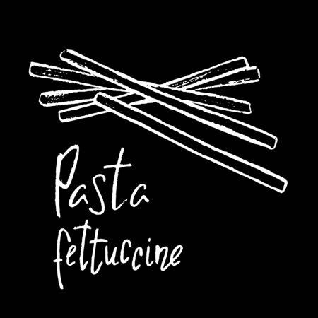 Italian pasta Fettuccine white chalk vector illustration on black background. Simple food recipe. Restaurant menu course. Pasta shape drawing. Pasta italiana on chalkboard. Tasty meal ingredient