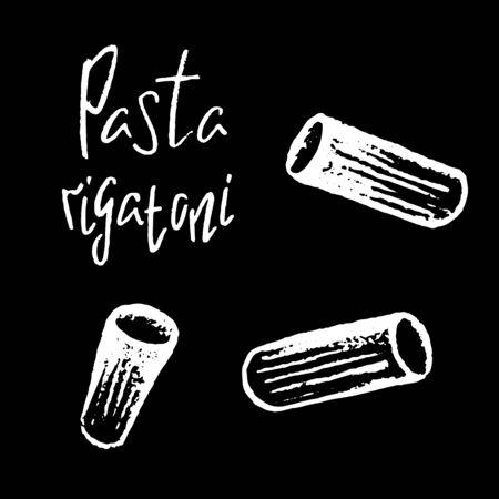 Italian pasta Rigatoni white chalk vector illustration on black background. Simple food recipe. Restaurant menu course. Pasta shape drawing. Pasta italiana on chalkboard. Tasty meal ingredient Ilustracja