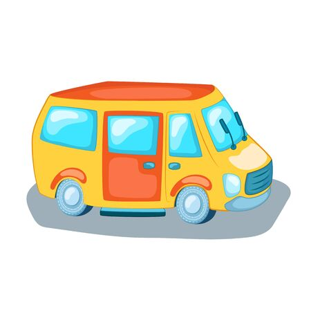 Cute mini van city transport. Cartoon vehicle vector illustration on white background. Urban transportation logo. Tourist or passenger minivan. Public transport in modern city. Car service logo