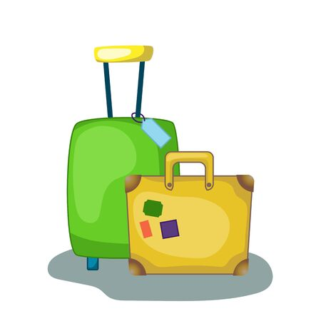 Modern and retro suitcase vector illustration on white background. Travel case icon. Green suitcase with trolley and wheels. Old case with travel stamps. Summer traveller luggage. Family trip