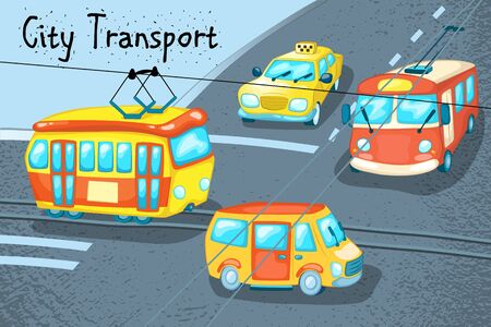 City transport scene with taxi, van, tram and trolley. Urban traffic vector illustration. Street crossing with different types of public transport. Colorful vehicles on road.