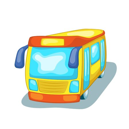 Travel bus isolated. City transport cartoon vector illustration on white background. Intercity or tourist bus logo. Urban public transport with route. Kids car mascot or icon. Ecological vehicle
