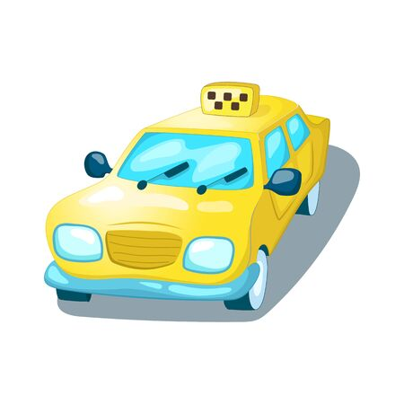 Yellow taxi car isolated. Urban transport cartoon vector illustration on white background. Cute taxi front view. Kids art taxi. Public transport icon. Modern city transportation system. Taxi service