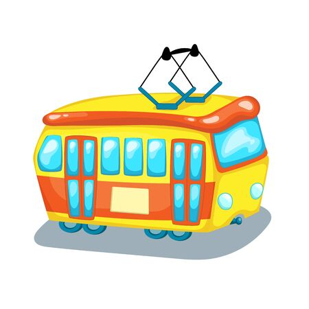 Tramway side view isolated. City transport cartoon vector illustration on white background. Tram car with electric wires. Urban public transport. Eco-friendly transport icon. Retro tram logo