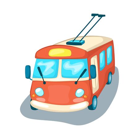 Trolley bus front view isolated. City transport cartoon vector illustration on white background. Trolleybus with electric wires. Urban public transport. Kids car mascot or icon. Ecological vehicle Ilustracja