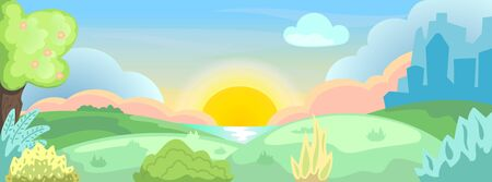 Flat Spring landscape with natural environment: blooming tree, grass and lake. City silhouette on background. Social media banner template with seasonal nature. Natural recreation in urban lifestyle
