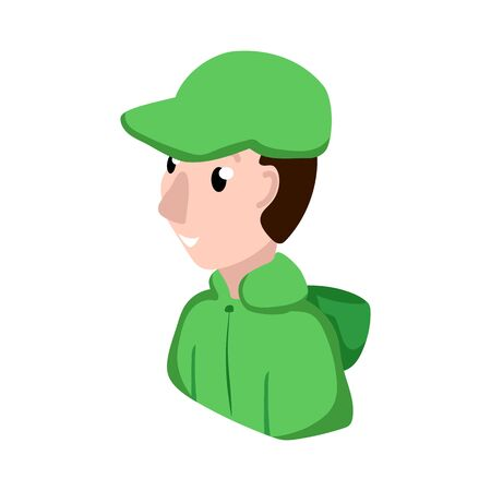Male service assistant in uniform, vector character on white background. Online support representative. Friendly man avatar in corporate wear. Smiling boy in cap and jacket. Internet business mascot Ilustracja