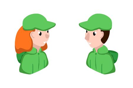 Male and female service assistant or helper in uniform vector character on white background. Online support gender avatar in corporate wear. Man and woman smiling face isolated. Social media character Ilustracja