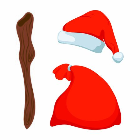 Santa Claus attributes hat, sack and staff vector illustration on white background. Christmas or New Year icon set. Cute Santa accessories. Santa hat, bag with gifts, and wooden staff. Winter holiday