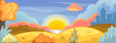 Cute Autumn landscape with natural environment: yellow hill, forest and lake. City silhouette on background. Social media banner template with seasonal nature. Natural recreation in urban lifestyle