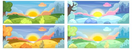 Four seasons of year natural landscape with lake, hills and city silhouette. Horizontal vector illustration for social media banner template. Spring, summer, autumn and winter. Seasonal landscape set