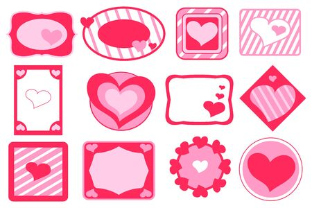 Red heart tag for St Valentine gift. Valentine Day decor vector illustration. Romantic present gift tag with pink heart. Valentine party sticker set. Cute pink label on white background