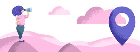 Girl with binoculars outdoor. Navigation and search concept flat vector illustration. Pink and violet banner template with text place. Violet hair woman looking for direction. Cloud and hill landscape