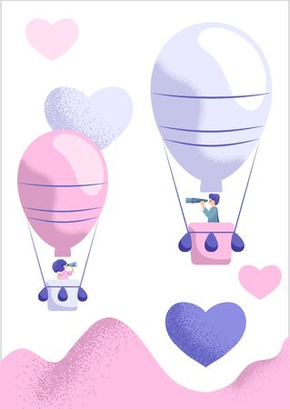 Air balloons with man and woman looking for each other. St Valentine Day card. Romantic vector illustration. Relationship and love search concept. Romantic couple in air balloon. Dating application