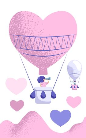 Air balloon heart shape with girl looking into binocular. Vertical vector illustration. St Valentine Day card. Romantic scene with couple. Relationship and love search concept. Partner search banner