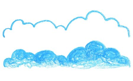 Hand-drawn cloud banner with outline and fill on white background. Children art or kids artclass banner template. Long cloud with outline and texture for social media. Natural environment sky object Zdjęcie Seryjne