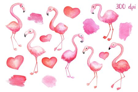 Pink flamingo birds, hearts and blots. St Valentine day watercolor illustration on white background. Hand-drawn flamingo. Pink watercolour blot and stain. Watercolor heart isolated. Romantic clipart Zdjęcie Seryjne