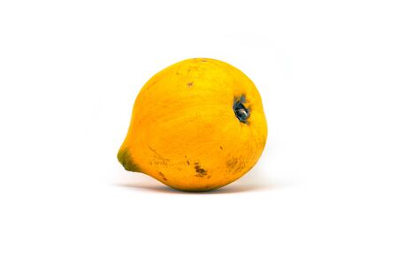 Yellow tropical fruit Santol or Chisa on white background. Egg fruit or Chisa studio shot. Exotic fruit of the Philippines. Tropical dessert with sweet taste. Round yellow fruit with thin skin photo