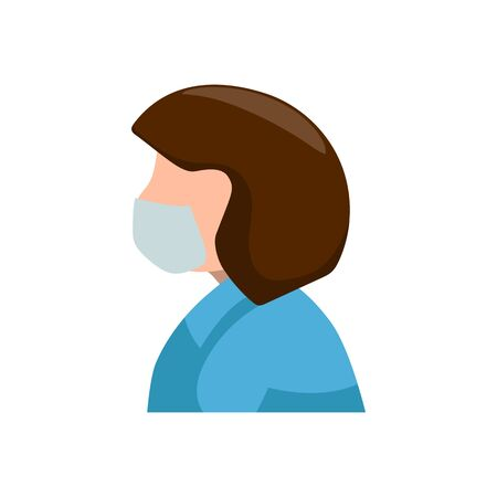 Woman wearing face mask vector icon on white background. Coronavirus or COVID medical. Personal protection against virus or microbe infection. Respiratory illness symbol. Pandemic prevention Illustration