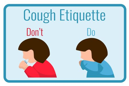 Cough etiquette banner with sick woman. Flu or bacteria disease spread in social place. Coronavirus pandemic prevention. Public place behavior tip for sick people. Ill woman coughing in hand or elbow