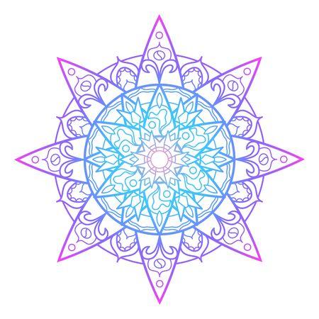 Violet blue mandala ornament, abstract vector illustration on white background. Gradient colored mandala print for psychedelic design. Geometrical medallion. Oriental ornament mandala for meditation Ilustração