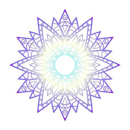 Purple yellow mandala ornament, abstract vector illustration on white background. Gradient colored mandala print for psychedelic design. Geometrical medallion. Oriental ornament mandala for meditation Vektorové ilustrace