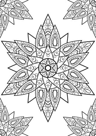 Indian mandala coloring book, black and white vector ornament on vertical page. Adult coloring page with abstract ornament. Round medallion with black line pattern. Adult coloring book page spread Ilustração