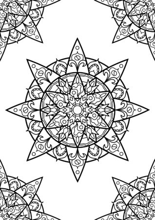 Arabic mandala coloring book, black and white vector ornament on vertical page. Adult coloring page with abstract ornament. Round medallion with black line pattern. Adult coloring book page spread Ilustração