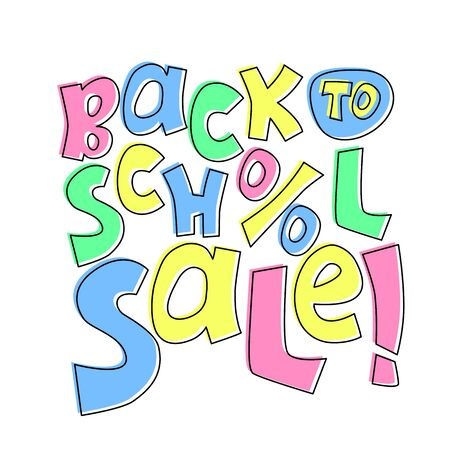 Back to School sale inscription, colorful vector lettering on white background. Typographic label for autumn sale. Children book store or kids goods online shop special offer tag. Student discount Stock Illustratie