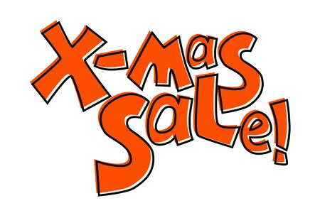 X-mas sale inscription. Christmas Sale colorful vector lettering on white background. Year-end sale in online shop. Special offer red tag. Bold quirky typographic label for special deal and discount