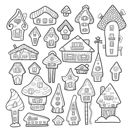 Doodle house vector illustration. Winter seasonal coloring page. Kids nursery poster. Advent calendar template. Christmas or New Year greeting card in scandinavian style. Cozy house icon or sticker Illustration