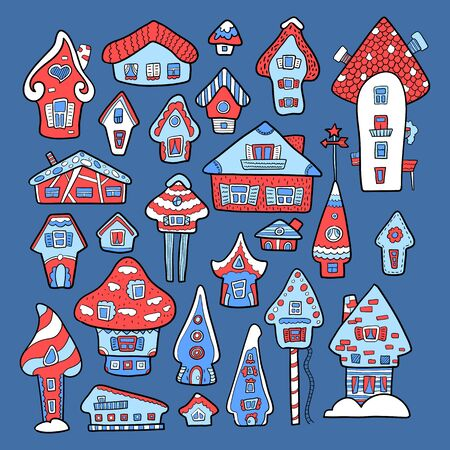 Doodle house vector illustration. Red blue winter seasonal print. Kids nursery poster. Advent calendar template. Christmas or New Year greeting card in scandinavian style. Cozy house icon or sticker