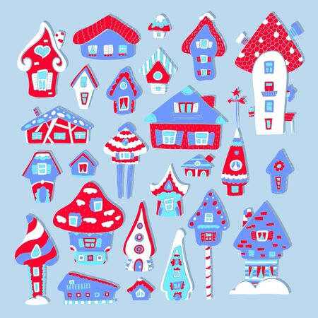 Doodle house vector illustration. Red blue winter seasonal print. Kids nursery poster. Advent calendar template. Christmas or New Year greeting card in scandinavian style. Cozy house decorCute country
