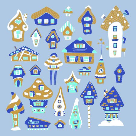 Doodle house vector illustration. Golden blue winter seasonal print. Kids nursery poster. Advent calendar template. Christmas or New Year greeting card in scandinavian style. Cozy house decor